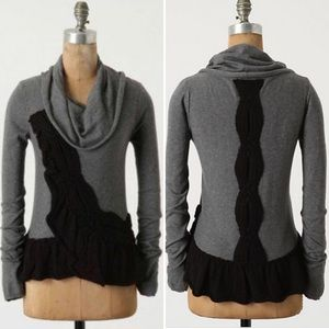 Anthro {Moth} Gray Switching Sides Cashmere Top